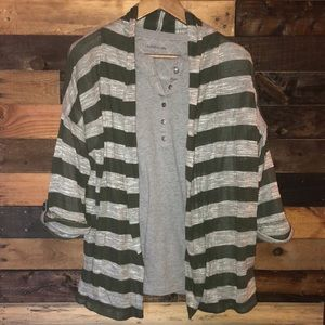 One A Striped Open Front Cardigan | XL